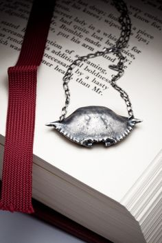 Silver crab shell necklace