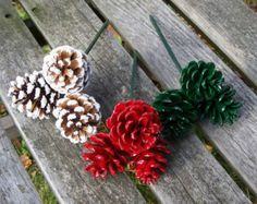 Pine Cone Floral Picks, 3. Choose either frosted, red, green or one of each. Christmas, Holiday, Pinecones, Floral Arrangements.