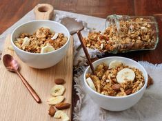 Granola bananes Healthy Baked Chicken, Quick Chicken Recipes, Veggie Recipes, Dinner Recipes, Healthy Breakfast Recipes, Easy Healthy Recipes, Fitness Workouts, Mexican Breakfast Recipes, Food And Drink