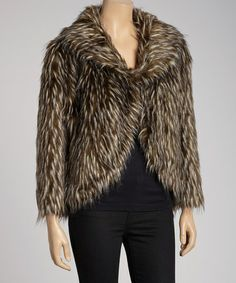 Take a look at this Brown Hipster Tipped Faux Fur Jacket by G.E.T. on #zulily today!