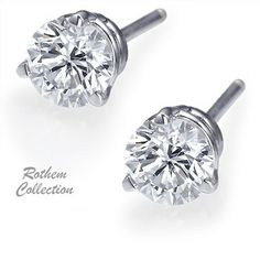 SKU: RE009w White gold three prongs diamond stud earrings feature certified round diamonds of your choice of 1/4 ct.tw up to 4 ct.tw.