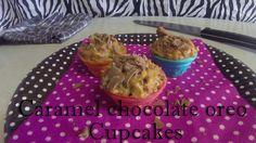 Caramel Chocolate Oreo Cupcakes.