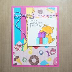 Purr-fect birthday card with cat by Elizabeth G Creations | Newton's Birthday Bash stamp set by Newton's Nook Designs