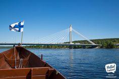 A nice river cruise in Rovaniemi with Lapland Safaris. Lapland Finland, Golden Gate Bridge, Safari, Travelling, Tourism, Cruise, Magic, River, Spaces