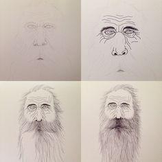 Blue eyes. Hipster grandpa. Drawing.