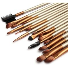 24 Pcs Golden Makeup Brushes Set Foundation Blush Beauty Facial Brush... (440 UAH) ❤ liked on Polyvore featuring beauty products, makeup, makeup tools, makeup brushes, beauty, cosmetics, filler, make up purse, cosmetic purse and cosmetic bag