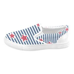 Blue, Red and White Stars and Stripes Men's Slip-on Canvas Shoes (Model Red And White, Slip On, Stripes, Guys, Stars, Canvas, Sneakers, Model, Blue