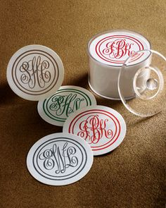 100 Monogram Coasters. Great for weddings and parties!