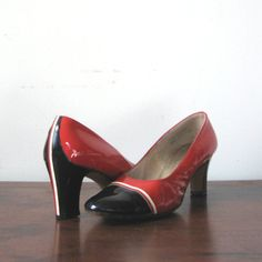Nautical Stripe Shoes Vintage Patent Leather by ultravioletvintage, $28.00