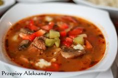 Przepisy Aleksandry: ZUPA GULASZOWA Diet Recipes, Cooking Recipes, Polish Recipes, Polish Food, Soups And Stews, Thai Red Curry, Food And Drink, Dinner, Eat