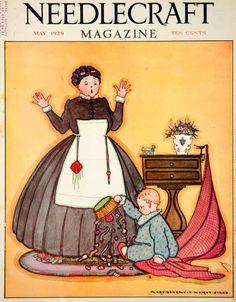 1929 Cubierta de la costura María Sherwood Wright Jones Baby Art cesta de costura YNM6 - Papel Período
