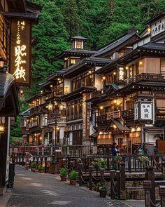 Notoya Ryokan at Ginzan Onsen Village, Obanazawa, Yamagata. by Loc Japan Travel Yamagata, Kumamoto, Visit Japan, Visit Tokyo, Japanese Architecture, Arch Architecture, Japan Photo, Beautiful Places To Travel, Travel Aesthetic