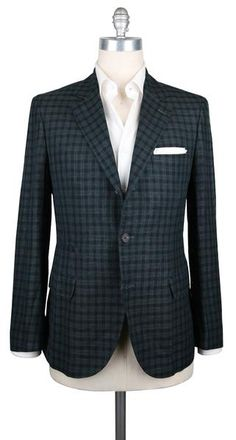 New $2585 Cucinelli Dark Green Linen Check Sportcoat - (BC4048300913) - Parent
