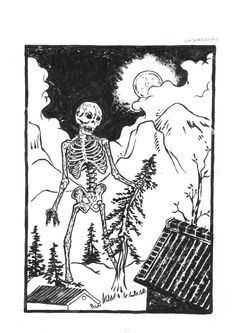 Gashadokuro- Japanese folklore: giant skeletons made from the bones of people who have died because of starvation. It lurks at midnight looking for victims who are by themselves. It can be detected by a ringing in your ear.