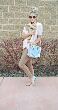 Love the Crochet Bow Scarf and color block flats. Neutrals with a pop of color. Beige Outfit, Autumn Winter Fashion, Spring Fashion, Bow Scarf, 2014 Fashion Trends, Fashion Outfits, Womens Fashion, Fashion Clothes, High Fashion