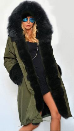 This cotton long coat has many careful embellishments on it such as zipper, hooded, faux fur cuff and so on. You will be attractive by this unique pattern and its material. This kind of long coat will