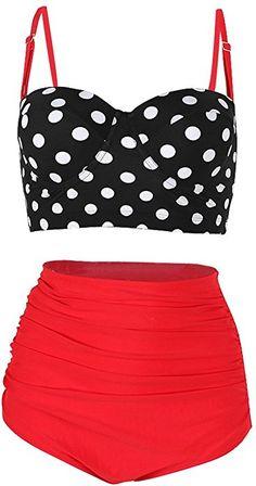 Amazon.com: SHENGFAN Womens Vintage Underwire High Waisted Swimsuit Two-Piece Bathing Suits Polka Dot Bikini: Clothing