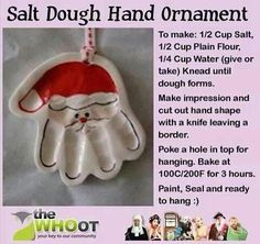 salt dough hand ornament christmas christmas crafts christmas decorations christmas crafts for kids christmas tree ornaments chistmas diy Santa Ornaments, How To Make Ornaments, Homemade Ornaments, Holiday Ornaments, Santa Hand Ornament, Santa Handprint Ornament, Custom Ornaments, Glitter Ornaments, Christmas Wrapping