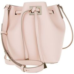 Michael Kors Collection Miranda SM Bucket Bag Cameo in rose, Shoulder... ($615) ❤ liked on Polyvore featuring bags, handbags, shoulder bags, rose, leather shoulder bag, bucket bags, pink handbags, drawstring bucket bag and pink shoulder bag