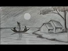 Pencil Drawing Techniques How to draw moonlit night with pencil step by step - Nature Sketches Pencil, Landscape Pencil Drawings, Landscape Sketch, Pencil Art Drawings, Art Drawings Sketches, Easy Drawings, 3d Drawing Techniques, Pencil Drawing Tutorials, Drawing Skills