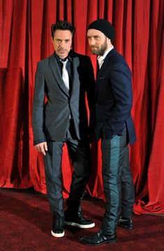 Jude Law and Robert Downey Jr... Is it bad if I only saw rdj's shoes?... Cuz I love them!