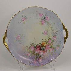 "Moritz Zdekauer MZ Austria Cake Plate Hand Painted Roses Porcelain 11""  ca 1900"