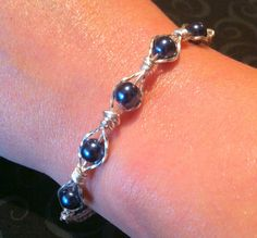 Blue Beaded and Silver Filigree Wrapped Bracelet