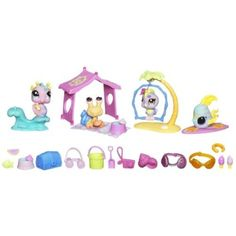 Littlest Pet Shop Tropical Aquarium Playset #2055 #2056 #2057 #2058 by Hasbro. $24.99. Four pets come with all the accessories they need for tons of fun on a tropical beach or even in an aquarium!. Pets #2055, #2056, #2057 and #2058. Ages 4 and up. Hermit crab, parrot, seahorse and angelfish pets come with accessories
