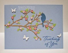 Glitter, Stamps, and Ink (Oh My.): Bluebird and Butterflies Different Colors Of Pink, Holly Brown, Spring Scene, Beginning Of Spring, Flower Mound, Autumn Scenes, Die Cut Cards, Card Sizes, Homemade Cards