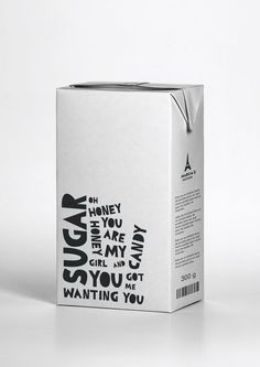 Lyrical Packaging- well known songs. Packaging identity/brand concept all using lyrics to relate to the product? Sugar Packaging, Bottle Packaging, Brand Packaging, Organic Packaging, Design Package, Label Design, Packaging Design Inspiration, Graphic Design Inspiration, Lettering