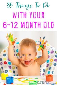 Sometimes it's hard to know how to play with your baby but not anymore! Here are 35 things to do with your month old! Great ideas for mom dad grandparents daycare providers and more! Baby Sensory Play, Baby Play, Infant Activities, Activities For Kids, 8 Month Old Baby Activities, Cognitive Activities, Infant Games, Infant Play, Learning Activities