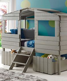 Rustic Gray Tree House Loft Bed & Drawers