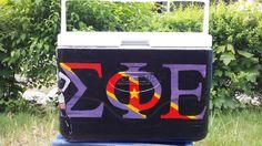 #sigep #sig #ep #sigma #phi #epsilon #fraternity #frat #tfm #tsm #srat #formal #cooler #painting #flag #black #purple #red #craft #crafty #crafting Sorority Canvas, Sorority Paddles, Sorority Crafts, Sorority And Fraternity, Sorority Recruitment, Fraternity Formal, Fraternity Coolers, Frat Coolers, Sigma Phi Epsilon