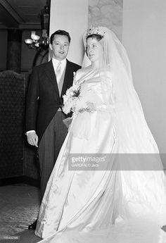 Princess Marie-Louise Of Bulgaria and Count Karl of Leiningen, February 1957 Royal Wedding Gowns, Royal Weddings, Wedding Dresses, Royal Families Of Europe, Family World, Nasa Astronauts, Royal Tiaras, Royal Brides, Royal House