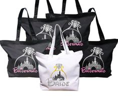 Disney inspired Bride and Bridesmaids, Mother in Law and Brides mothers bags with glitter castle and text. Also you can choose custom option. After choosing custom option let us know what text you want to write on the bag. Available colors: Black White Organic Cotton Shopper this is made from 100% organic cotton and has been certified. This bag can be carried over the shoulder or by hand and is hard wearing and practical. Use in hand or over the shoulder Handle length 58cm Fabric 100%…