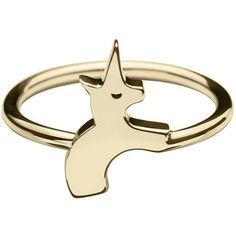 The Solid Gold Unicorn Ring THE POMMIER ($4.69) ❤ liked on Polyvore featuring jewelry, rings, yellow gold band ring, yellow gold rings, yellow gold jewelry, gold ring and band jewelry