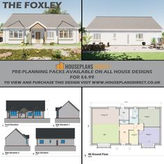At Houseplansdirect we have Pre-Planning Packs on all our designs that you can purchase for just £4.99, you can print these out and take them to your local council and ask their opinion! 🤞 We can also customise any Pre-Planning Pack to meet your requirements for a small fee, you might want to extend it, flip it, or swap some of the rooms around - not a problem, we can help! Just call us 01432 806409 or email designs@houseplansdirect.co.uk. 😁 Countryside Style, Plan Drawing, Email Design, Bungalow Designs, Floor Plans, Cottage, Exterior, Traditional, How To Plan