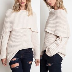 SYDNEY knit off shoulder sweater top - CREAM Chunky knit off shoulder sweater top. AVAILABLE IN RUST, CREAM & MAUVE.  !!!NO TRADE, PRICE FIRM!!! Tops Tees - Long Sleeve