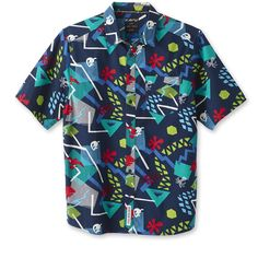 Give a nod to your festive nature with the men's KAVU Festaruski shirt. Its colorful print and stand up collar offer eye-catching, refined style. Short Sleeve Button Up, Button Up Shirts, Casual Shirts For Men, Men Casual, Interior Logo, Outdoor Wear, Cool Shirts, Funky Shirts, Moda Masculina