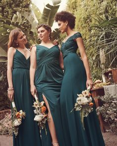 Your bridesmaids will be green with envy once they see these Gem bridesmaid dresses from David's Bridal! If you're looking for a deep turquoise or peacock colored bridesmaid dress, look no further than Gem. Bonus: this rich jewel tone looks beautiful on all skin tones! Read more about this new hue on the David's Bridal blog.