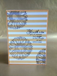 Yellow stripe background with sunflowers birthday card