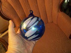 Gorgeous HUGE Hand Blown Art Glass Christmas Ornament Vintage Cobalt Blue