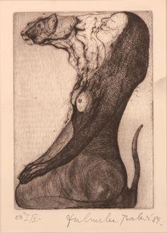 """Shamanism"" : Etching (1983) ~ by Dubravka BABIC (Croatia, born 1951)."