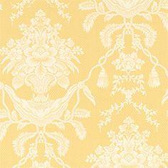 Thibaut Piccadilly - Hampton Damask - Wallpaper - Yellow