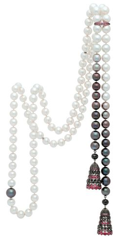 South Sea Pearl Long Necklace - Multi color from peacock black, coffee brown, golden brown, light grey to silver white, echoed with black & red gemstones tassel & pink sapphire enhancer/shortener