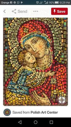 Polish Art Center - Matka Boska Wlodzimierska - Our Lady of Wladimir Mosaic Icon - Project Religious Icons, Religious Art, Mosaic Tile Art, Mosaics, Mosaic Mirrors, Stone Mosaic, Image Jesus, Mosaic Portrait, Blessed Mother Mary