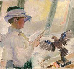 Mulher de chapéu lendo com pássaro empalhado Bernhard Folkestad (Noruega, 1879-1933) óleo sobre tela