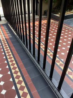 This close up shows our cast iron style black railings partnered with mosaic tiling to create that perfect period finish. Tiling, Mosaic Tiles, Black Railing, Front Gardens, Edwardian House, Fence Ideas, Garden Projects, Gates, Cast Iron