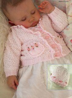 Pretty knit Baby Rosebud Cardigan jacket and Matching Hat to knit - PDF knitting pattern