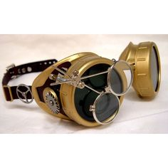 Handmade Steampunk Goggles Victorian Glasses Brass Leather Gears Red (66 CAD) ❤ liked on Polyvore featuring glasses, jewelry and steampunk